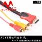 HDMI转3RCA机顶盒高清转换线红黄白带网hdmi转av线3色差音视频线